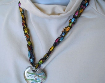 Heart-Shaped Glass Pendant on Textile Necklace Cord Made of Trellis Ladder Yarn - Fiber Jewelry
