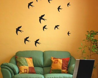 Swallow Wall Stickers - Birds wall decal - Pack of 12 or 24