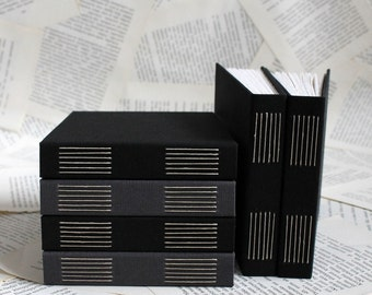 Small Watercolor Paper Sketchbook - Hardcover Long Stitch Binding in Dark Grey or Black