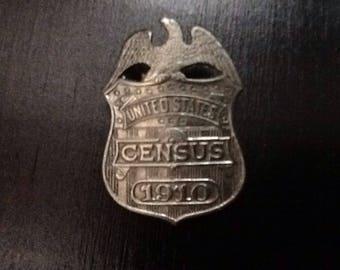 1910 US census badge-original,vintage,memoribilia,collectible,Christmas gift