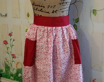 XL Handmade Half Apron with Pockets Red Filigree