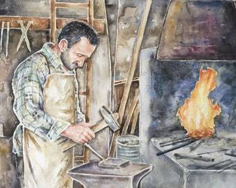 Original watercolor painting 'blacksmith',art for man,watercolor art,people painting,figurative watercolor
