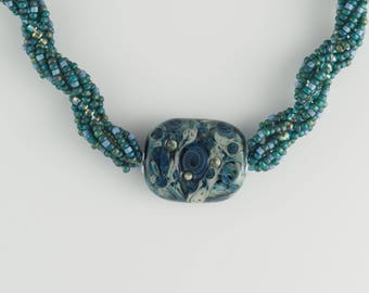 Blue Beaded Rope Necklace with Handmade Lampwork Bead