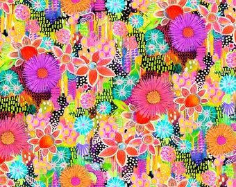 Multi Flowers Digitally Printed Cotton Fabric -Euphoria Collection Robin Mead -  P & B Textiles - Colorful, Modern
