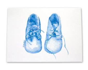 Blue Baby Booties Congratulations Card
