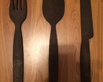 Wood Fork, Knife and Spoon Decor