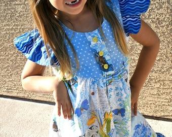 Girls Flutter or Butterfly Sleeve Dress Michael Miller's French Journal Fabric