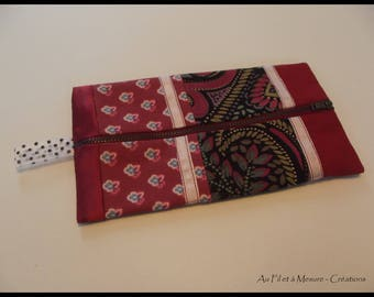 Cosmetic case patchwork fashion, fancy raspberry fabrics