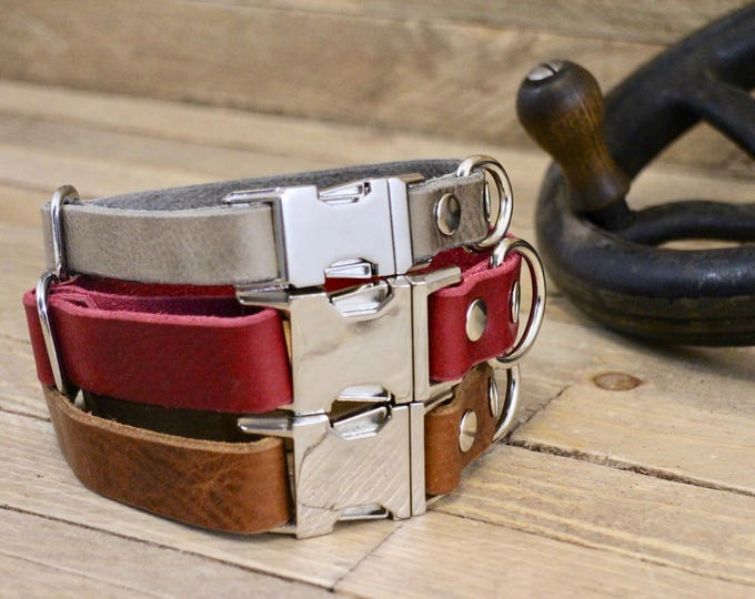 FREE ID TAG, Dog collar, Clip collar, Handmade leather collar, Pet gift, Metal side release buckle, XLarge collar, XSmall collar.