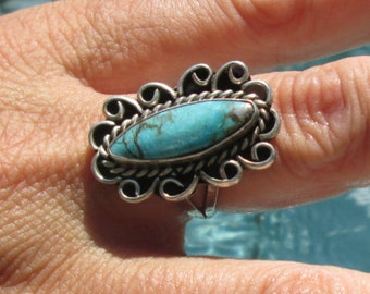 Ornate Turquoise and Sterling Statement Ring Size 7.75