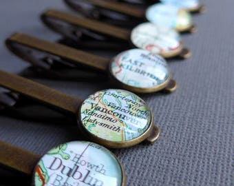 Customizable Tie Clip, Choose Your Map, Personalized Gift for Him, Tie Bar, Groomsmen Gift, Birthday, Words and Letters