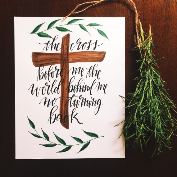 I have decided to follow Jesus, Christian home decor, worship leader gift, Hillsong, hymn art, the cross before me, Christian gift
