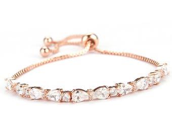 rose gold bracelet, rose gold, wedding jewelry, bridal bracelet, rose gold jewelry, wedding bracelet, crystal bracelet, gold bracelet, bride
