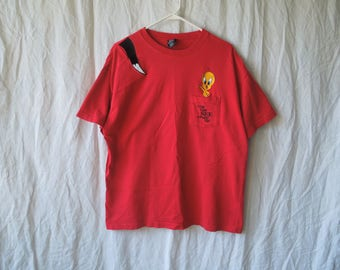 90s Tweety Bird and Sylvester Cat Embroidered Warner Brothers T-Shirt
