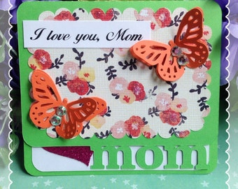 I Love You Mother Gift Card Holder-Mother's Birthday- Mother's Day Card-Butterfly Card-Lime Green