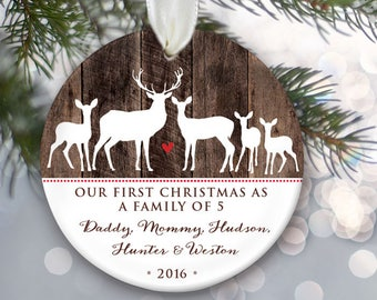 Deer Family of 5 Personalized Christmas Ornaments - Family of five Deer Ornament - Family of Deer Ornament Christmas Stocking Stuffer OR789