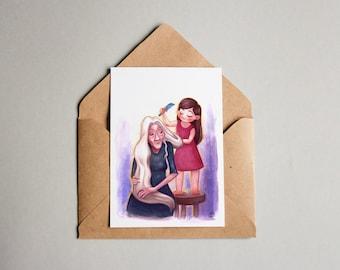 Postcard SET with original artwork print