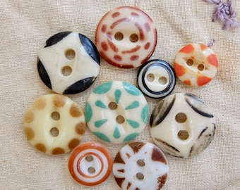 Vintage China Stencil Buttons Assortment 9