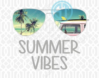 Summer Vibes Sublimation Heat Transfer Pre Made DIY Iron On HTV Vinyl You Choose