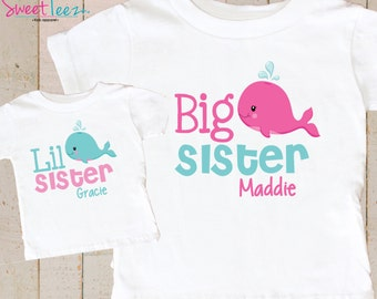 Big Sister Little Sister Shirts - Personalized Sister Shirts - Whale Shirts - Big Sister Shirt - Little Sister Shirt - Gift For Baby shower