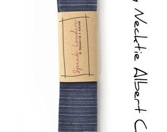 Mens Tie Skinny Necktie Square-End Tie-Laid-Back necktie- blue striped linen