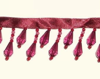 Perles garniture 4 verges Vintage perles garniture Bordeaux franges de perles Perles garniture de ruban