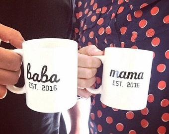 Mama baba mugs, umm and abu mugs.