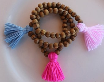 Wholesale Mala Tassel Bracelets Wood Bracelet Yoga bracelet Gypsy bracelet Layering Bracelet Stack bracelet  stretch bracelet