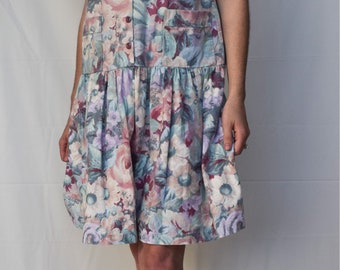 Vintage Pastel Floral Smock Dress size M