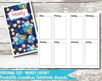 Personal Size - Week on 2 Page PRINTABLE Insert for Traveler's Notebooks