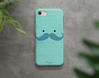 iPhone X Case, iPhone 8 Plus Case, iPhone 7 Case, iPhone 6 Case, iPhone 8 Case, iPhone 7 Plus the soft blue mustache man iphone case