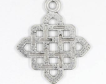 5 charm Argyle, Tibetan style silver metal, 25 x 21 mm, set of 5
