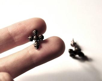 Stud Earrings Gothic cross with skulls, black copper