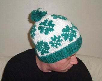 St patricks day gift for men beanie hat in green white hand knit