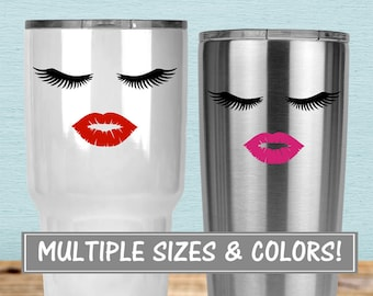 Lips and Lashes Sticker for Yeti Tumbler, Lashes Decal Lash Decal, Beauty Decal Yeti Eyelashes Decal, Glitter Decal for Yeti Decal for Women
