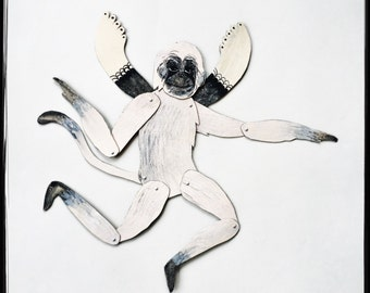 SALE Monochrome Flying Monkey / Articulated Decoration  / Hinged Beasts Series