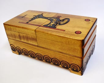 Handmade Wooden Sewing Box/ Sewing basket/Storage box/ Needle box