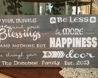 May Your Troubles Be Less Irish Blessing Personalized Wood Sign, Irish Blessing Wood Sign, Irish Blessing Personalized with Family Name Sign