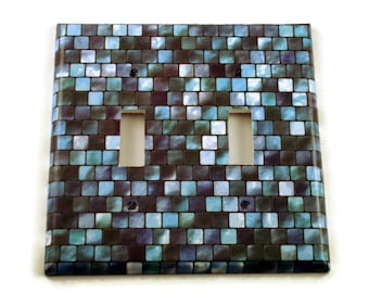 Double Light Switch Cover Wall Decor Switchplate  Switch Plate in Tranquil Tiles (203D)