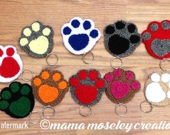 Crochet paw print key chain