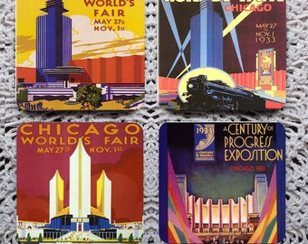 Meet Me in Chicago -- 1933 Chicago World's Fair Posters Mousepad Coaster Set