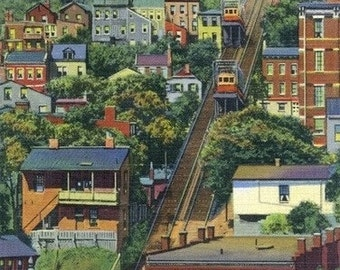 Cincinnati, Ohio - View of the Mt. Adams Incline (Art Prints available in multiple sizes)