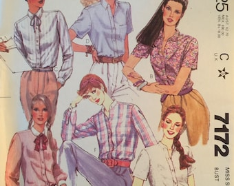 McCall's 7172, Size 12, Misses' Shirts Pattern, UNCUT, Button Front, Vintage, 1980, Made for You, Career Wear, Casual Wear