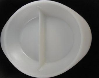 Glasbake Milk Glass Divided Serving Dish