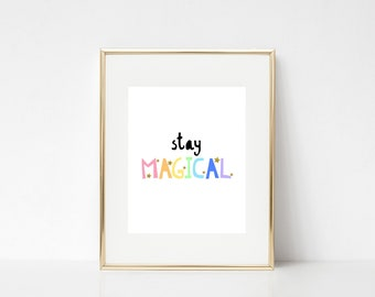 Séjour magique | Licorne imprime | 8 x 10 | Impression numérique