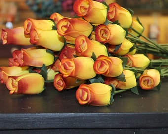 Hand Crafted Wooden Rose Buds for Crafts, Weddings or just for Bouquets, ect. Yellow with Red tips-4 dozen 48 total