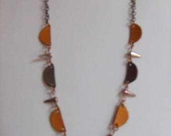 Necklace half moon AB spike and leather
