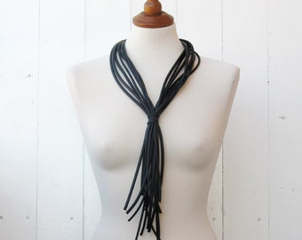 Black Rubber Necklace, Fashion Necklace, Strips Necklace, Designers Jewelry, Street Fashion, Everyday Necklace