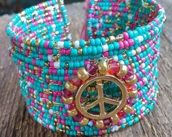Beaded Cuff, Cuff Bracelet,Bohemian Bracelet, Peace Bracelet, Crystal Bracelet, Memory Bracelet, Turquoise Pink Bracelet, Tassel Bracelet