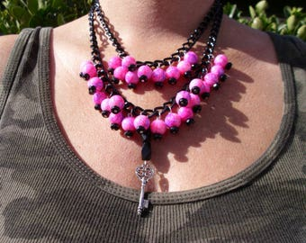 Double strand hot pink and jet black beaded necklace with key charm